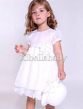 Vestido Infantil de Batizado com Chapéu - tam 1 ao 3 Branco
