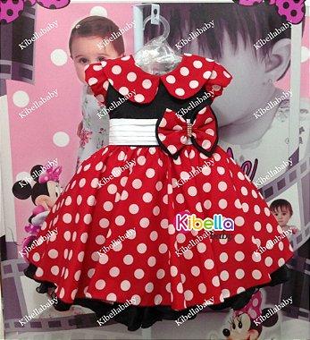 Vestido Minnie com Gola Vermelho Disney Luxo - Tam 1 / 3 Vermelho / Branco