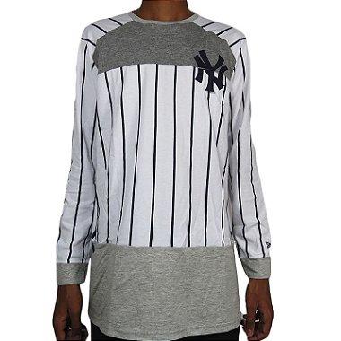 Camisa Manga Longa New Era New York Yankkes - Branca / Cinza Mescla S / P