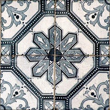 Azulejo Adesivo Padrão Português Geométrico Cinza