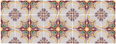 Kit Adesivo Azulejo Padrão Português Bordô e Amarelo 24 Azulejos de 15cm