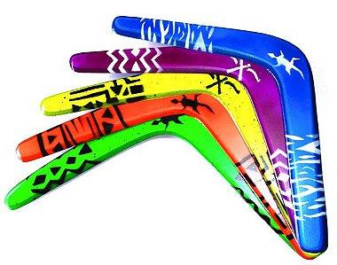 Bumerangue para Canhotos Tradicional Aborígene Duas Asas - Free Flyght Azul / Branco