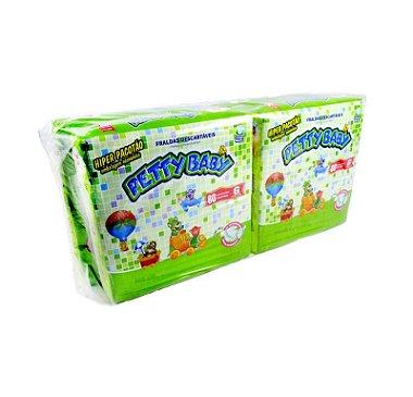 Fralda Infantil Petty Baby Hiper Pacotão - Fardo ( 4 Pacotes ) Com P ( 408un ) , M ( 360un ) , G ( 320un ) , XG ( 280un ) + Ganhe Toalhinha Umedecida Petty Baby 50un