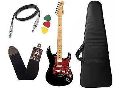 kit Guitarra Tagima TG 530 Woodstock Preto Capa Cabo