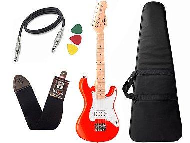 Kit Guitarra Criança Infantil Eletrica Phx Isth 1/2 Vermelho Bag