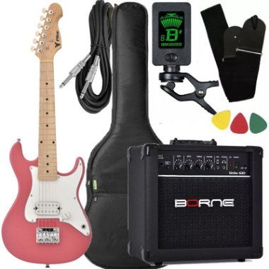 Kit Guitarra Phx Isth Rosa Criança Infantil 1/2 cubo Borne afinador