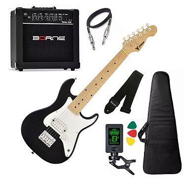 Kit Guitarra Phx Isth Criança Infantil Preto caixa Borne