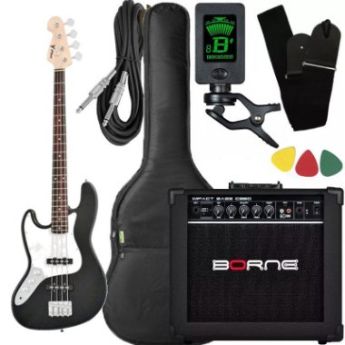Kit Baixo canhoto Phx Jb4 Jazz Bass preto caixa amplificador borne