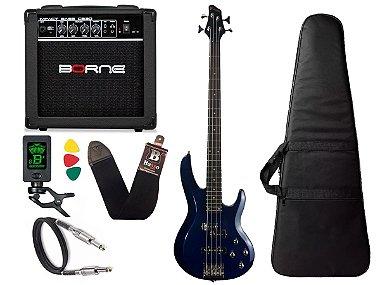 Kit Baixo Ativo Phx Bs4 S azul caixa amplificador Borne cb60