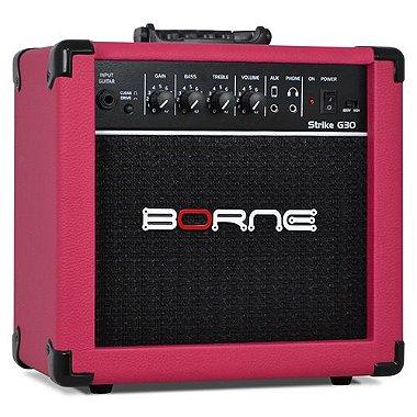 Amplificador Cubo Guitarra Borne G30 rosa pink C/ Distorção