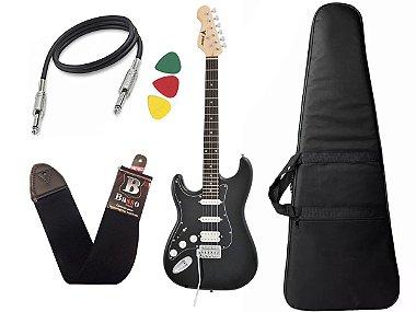Guitarra canhoto Phx Strato Power Sth Preto Capa Alça Cabo