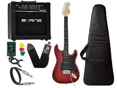 Kit Guitarra Strato Phx Sth Vermelha cubo amplificador borne