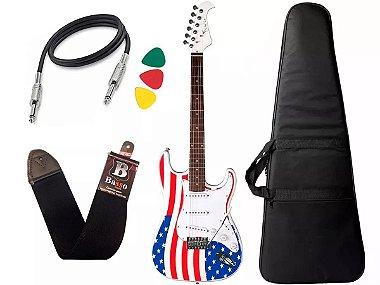 Kit Guitarra Eagle Sts001 Usa Bandeira Americana Capa Bag