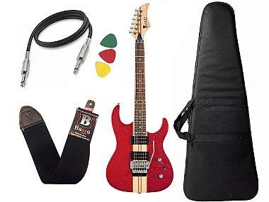 Kit Guitarra eagle Egt61 vermelha floyd rose microafinação