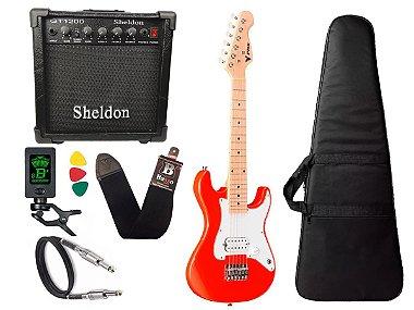 Kit Guitarra Phx Infantil Criança Jr Ist1 Vermelho 3/4 caixa Sheldon