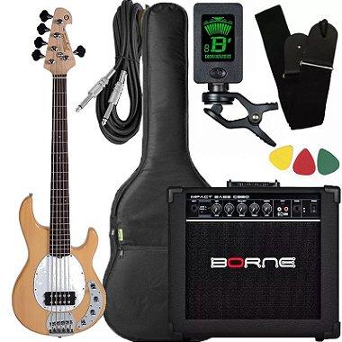 Kit Baixo Tagima Tbm5 Natural ativo caixa amplificador Borne