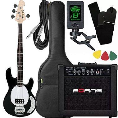 Kit baixo Tagima Tbm4 ativo preto caixa amplificador Borne