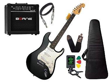 Kit Guitarra Tagima Memphis Mg32 Preto Branco Borne Capa