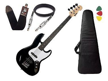 Baixo Phx Jb 4 Jazz Bass 4 Cordas Cor Preto Capa Alça Cabo