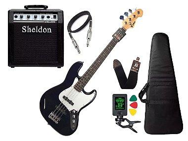 Baixo 4 Cordas Phx Jb Jazz Bass Azul Escuro Marinho Sheldon