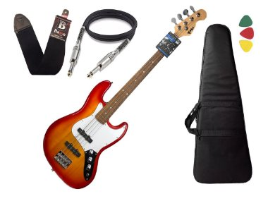 Baixo 4 Cordas Phx Jb 4 Jazz Bass Cherry Burst Capa Cabo
