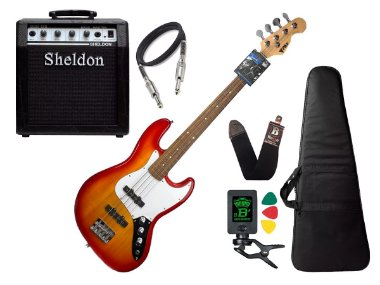 Baixo 4 Cordas Phx Jb 4 Jazz Bass Cherry Burst Caixa Sheldon