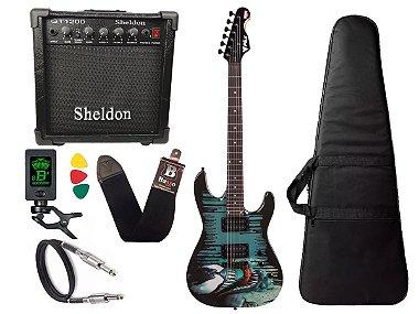Kit Guitarra venom marvel phx cubo amplificador sheldon