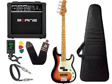 Kit Baixo Tagima Tw65 Woodstock precision Sunburst Amplificador