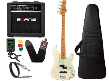 Kit Baixo Tagima Tw65 Woodstock precision Branco Amplificador