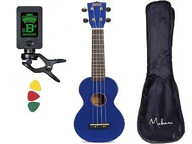Kit Ukulele Soprano Mahalo Mr1 Azul cordas Aquila capa MR1BU