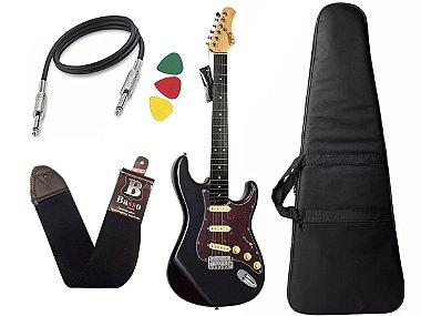 Kit guitarra tagima t635 preta escala escura escudo tortoise Capa