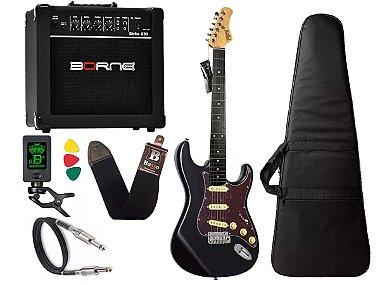 Kit guitarra tagima t635 preta escala escura tortoise amplificador borne