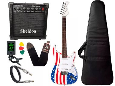 Kit Guitarra Eagle Sts001 Usa America Caixa De Som Sheldon