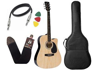 Kit Violão Folk Eletroacústico Vogga Vck370 NT Natural Afinador Bag
