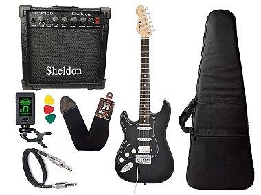 Kit Guitarra Canhoto Phx Strato Power St H Sth Preto Cubo Sheldon