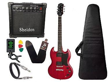 Guitarra sg Epiphone Ve special Vermelho caixa amplificador sheldon