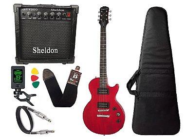 Guitarra les paul Epiphone Special VE Vermelho caixa amplificador sheldon
