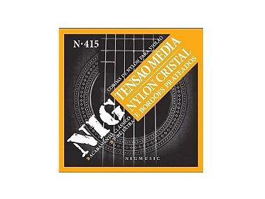 Encordoamento De Violão Nylon Nig N415 Clássico Cristal Prateado Tensão Média C/ (Ré) Brinde
