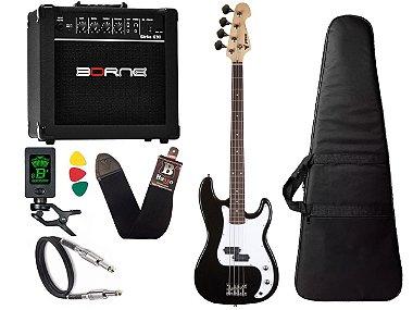 Kit Baixo Infantil Criança Phx Precision Bass Jr 3/4 Preto Borne