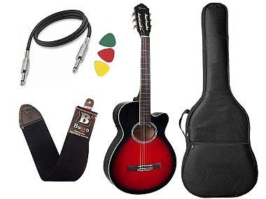 Kit Violão nylon eletrico giannini gnf-1d Vermelho mini jumbo Bag