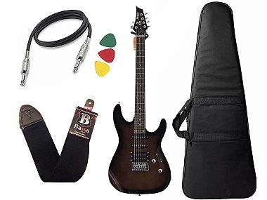 Guitarra Tagima Memphis Mg260 Preto Transparente Capa Cabo