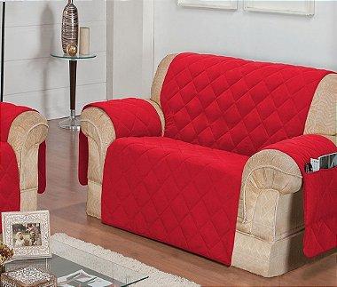 Protetor Para Sofá De 02 Lugares Com Assento De 1,40m Matelado Microfibra Lú Red Berry