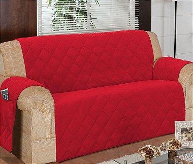 Protetor Para Sofá De 04 Lugares Com Assento De 2,30m Matelado Microfibra Lú Red Berry