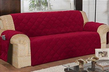 Protetor Para Sofá De 04 Lugares Com Assento De 2,40m Matelado Microfibra Lú Red Berry