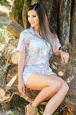 Camisa Seda Bromélias