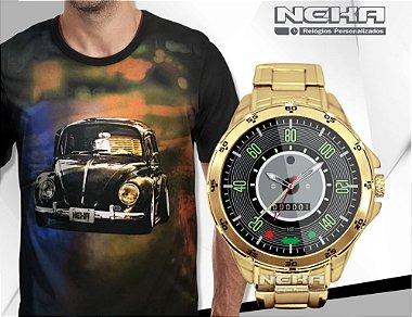 Combo 1 Relógio Dourado Fusca 140km + 1 Camiseta Fusca por