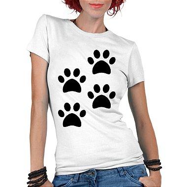 Camiseta Feminina 4 Quatro Patas Pet Lover - Personalizadas / Customizadas / Estampadas / Camiseteria / Estamparia / Estampar / Personalizar / Customizar / Criar / Camisa Blusas Baratas Modelos Legais Loja Online Preto