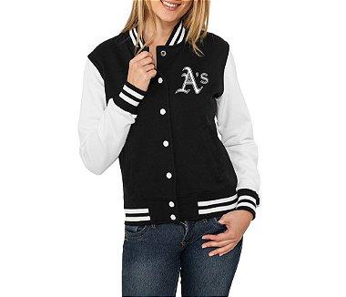 Jaqueta College Feminina Oakland Athletics - Jaquetas Colegial / Americana / Universitária / Baseball / de Frio / Preto e Branco / Personalizadas / Blusas / Casacos / Blusão Baratos