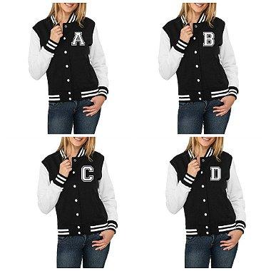 Jaqueta College Feminina Letras Iniciais Nomes Alfabeto de A a Z - Jaquetas Colegial Americana Universitária Baseball de Frio Preto e Branco Personalizadas Blusas / Casacos / Blusão Baratos W