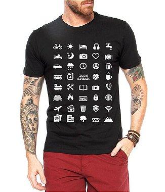 Camiseta Masculina Viajante 40 Icon Speak - Personalizadas / Customizadas / Estampadas / Camiseteria / Estamparia / Estampar / Personalizar / Customizar / Criar / Camisa Blusas Baratas Modelos Legais Loja Online Preto